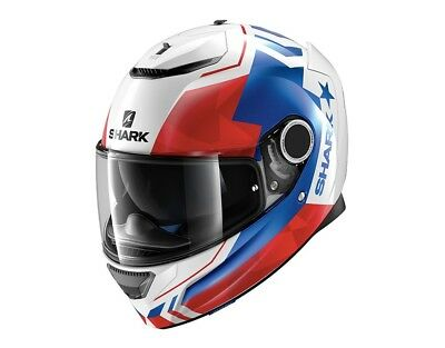 Shark Spartan Droze Motorcycle Full Face Helmet WBR - White / Blue / Red