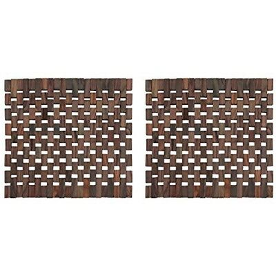 "Set Of 2 Slatted Wooden Placemats By Creative Tops, 29 x 29cm (11½"" x 11½"") -"