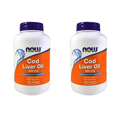 2X NOW FOODS COLD LIVER OIL DOUBLE STRENGTH CARDIOVASCULAR SUPPORT 250 Softgels
