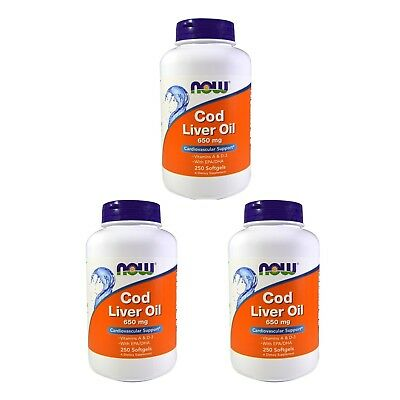 3X NOW FOODS COLD LIVER OIL DOUBLE STRENGTH CARDIOVASCULAR SUPPORT 250 Softgels