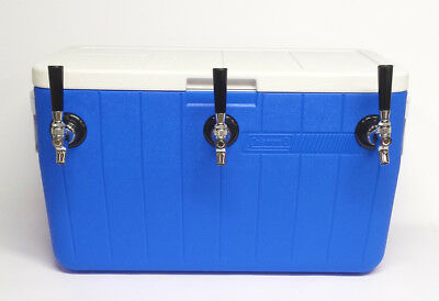 Jockey Box Draft Beer Cooler 3 Faucet 50' Stainless Steel Coils, 48qt Blue