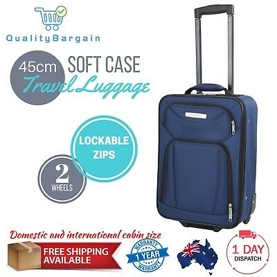 Soft Travel Luggage Carry On Case Cabin Suitcase Trolley Roll Wheels Lightweight