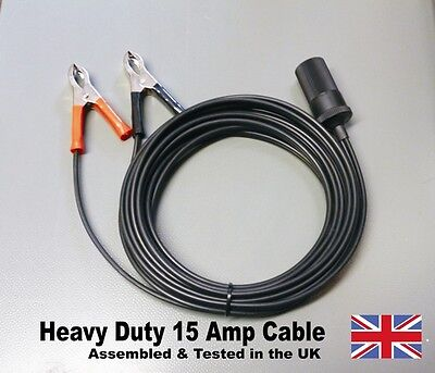 12v Battery Clip On Lead for Cigarette Lighter Socket LONG HEAVY DUTY CABLE 15A