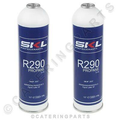 PACK OF 2 x R290 PROPANE REFRIGERANT GAS CANISTER CYLINDER 370g GRAMS 1 LITRE 1L