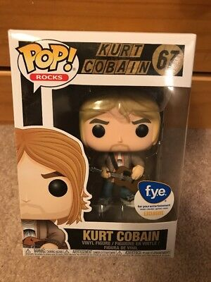 "New Funko Pop! Rocks #67 ""Kurt Cobain"" Fye Exclusive Collectible Vinyl Figure"