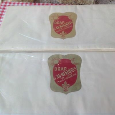 TWO Identical Vintage French Sheets /Curtains New stored Cotton Superior Quality