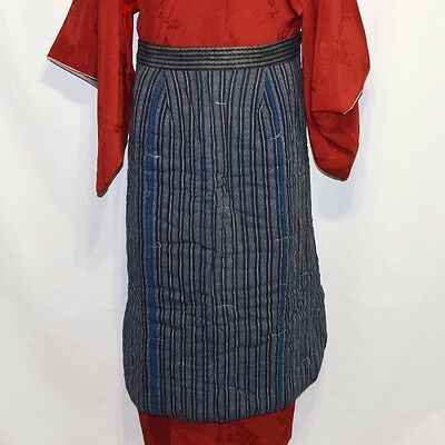 "Antique Vintage Japanese Textile Quilted Skirt Style Apron ""Indigo Striped"""