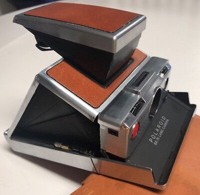 Vintage Polaroid SX-70 Chrome & Brown Leather Instant Land Camera With Case EUC