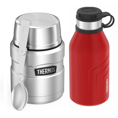 Thermos Stainless King Vacuum Insulated 16 Oz Food Jar with 32oz Beverage Bottle