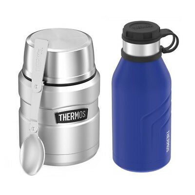 Thermos Stainless King Vacuum Insulated 16oz Food Jar with 32oz Bottle (Blue)