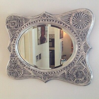 Antique Liberty Chip Carved Aesthetic Style Design Oak Painted Frame & Mirror
