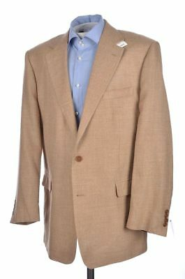 NWT - BROOKS BROTHERS Beige Solid Silk Linen Blazer Sport Coat Jacket - 44 L