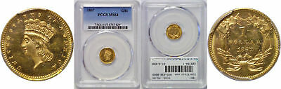 1867 $1 Gold Coin PCGS MS-64