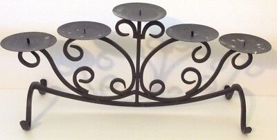 Large Wrought Iron Candle Holder 5 Pillar Long Scroll Footed Black Centerpiece