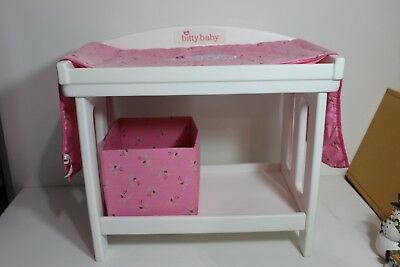 American Girl Bitty Baby Twins Doll Changing Table W/ Pad Bin Retired