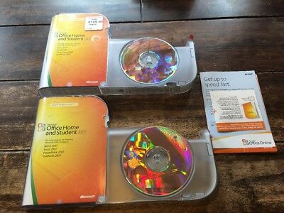 2 Microsoft Office Home and Student 2007 Full Retail w/ Product Key - MINT DISCS