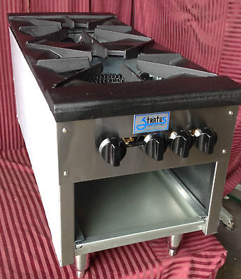 """NEW 18"""" 2 Burner Double Stock Pot Kettle Stove NSF Gas Stratus SSP-18D-24H #1063"""