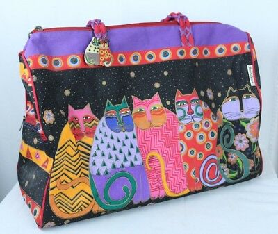 Laurel Burch Cat Duffel Carry-On Zipper Bag Canvas XLarge Sun n Sand Multi-Color