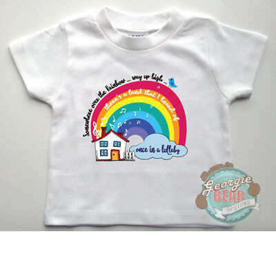 Over the Rainbow Baby T-shirt, Custom printed.  Wizard of Oz theme. Cotton.