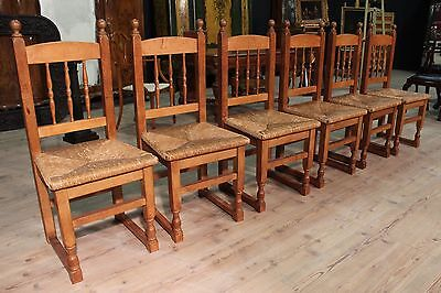 Group 6 chairs rustic seats armchairs living room wooden oak antique style 900