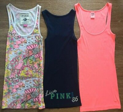 PINK Victoria's Secret Lot 3 Ribbed Tank Tops XS Extra Small