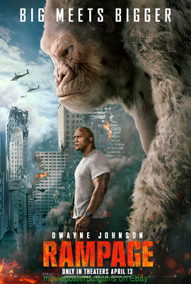 RAMPAGE MOVIE POSTER DS 27x40 DWAYNE JOHNSON 2018 Final Style One Sheet