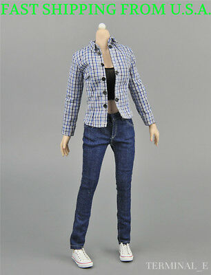 "1//6 Female Classic Jeans Shorts Tank Top For 12/"" PHICEN Hot Toys Figure ❶USA❶"