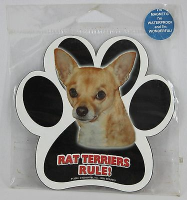 "Rat Terriers Rule! 2009 #13244 5"" Waterproof Dog Paw Print Pawprint Magnet"