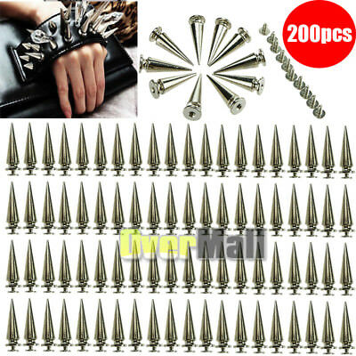 200Pcs 26mm Silver Spots Cone Screw Metal Studs Leathercraft Rivet Bullet Spikes