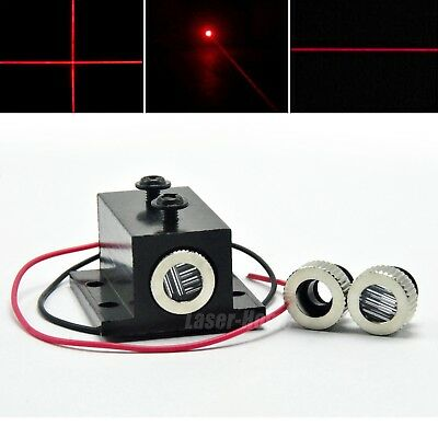 3in1 Dot Line Cross 650nm 100mW Red Focusable Laser Diode Module LED + Heatsink