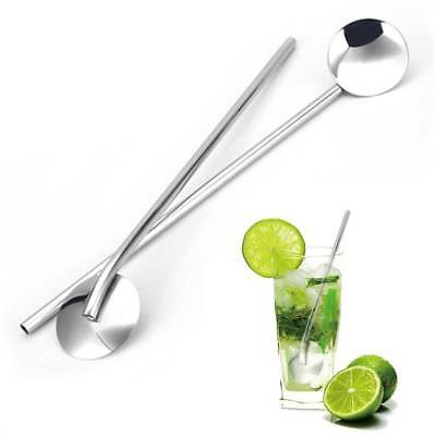 Stainless Steel Sipping Straws Spoons Ice Coffee Stirring Spoon Bar Set of 5pcs