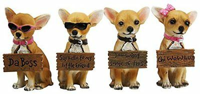 Set of 4 Adorable Tea Cup Chihuahua Dog Holding Humorous Signs Small Figurines 4