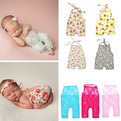 Newborn Boy Girl Baby Costume Outfits Lace Floral Photography Props Romper