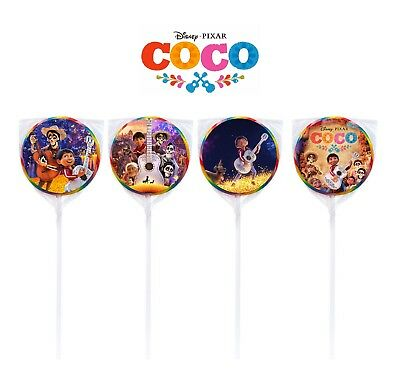 24 Disney Coco Miguel Movie Stickers Round Labels for Bag Lollipop Party Favors