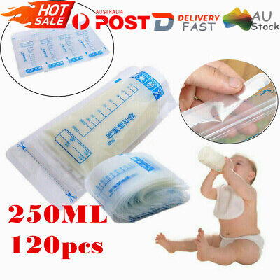 100PCS Pre-sterilised Baby Breast Milk Storage Freezing Bag Pouch BPA Free 250ml