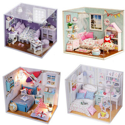 Dollhouse Miniature DIY Kit Wood Toy Doll House Cottage + LED lights collection