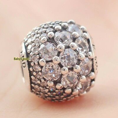 925 Sterling Silver Enchanted Pave Charm Sparkling Clear CZ Crystal Glam Bead