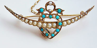 Murrle Bennett 9ct Gold Turquoise & Pearl Heart & Crescent Moon Brooch c1900