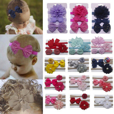 3pcs/Set Infant Girl Bow Headband Ribbon Elastic Baby Headdress Kids Hair Band