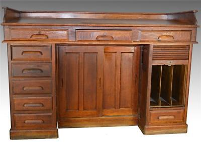 17245 Rare Oak Raised Panel Railroad Master's Desk