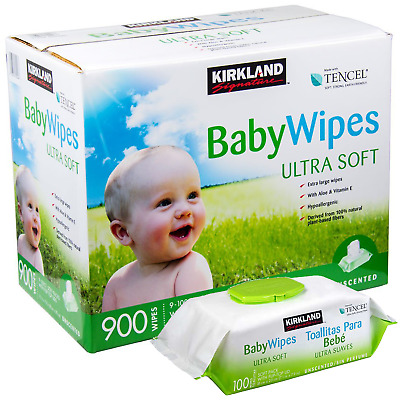 Kirkland Signature Tencel Unscented Baby Wipe Ultra Soft 900 Wipes Extra Large