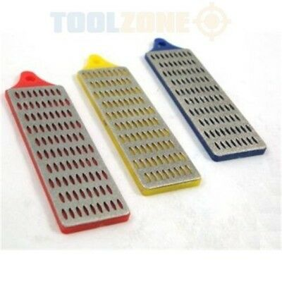 "Toolzone Diamond Whetstone Set - 3 Piece 1""x3"" - Sharpening 3pc Scissors Knife"