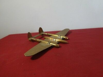 Vintage WWII US Military Brass Shell Casing Trench Art Fighter Bomber Plane U.S