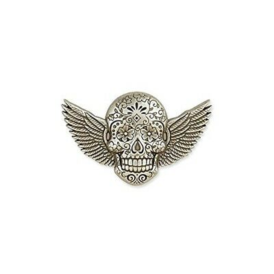 Tandy Leather Sugar Skull Concho Winged Antique Silver Plate/nickel Free