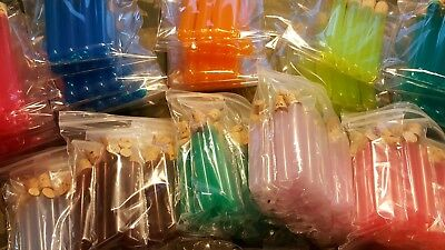Lot of 140 Plastic Test Tubes with Corks - Assorted Colors and Sizes