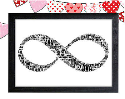 personalised infinity word art wall print gift idea home symbol