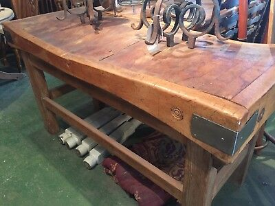 A Sturdy Solid Antique Wooden Butchers Block