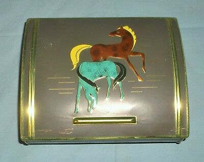 Vintage Tin Jewelry Box Container w/ Colorful Horses Hinged Lid Western Germany