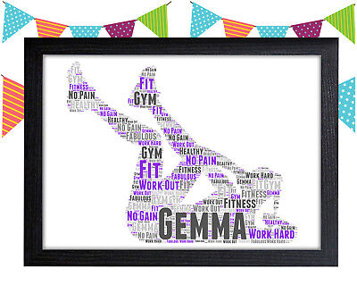 PERSONALISED Female Gym Word Art Wall Print Gift Idea Home Girl Woman Fitness