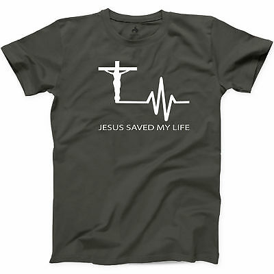 Jesus Saved My Life Religion T Shirt God Lover Mens Bible Hope Graphic Tee S-3XL